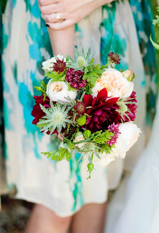 red white and green bridesmaid bouquet