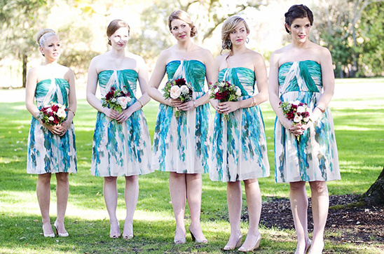 blue and green watercolor bridesmaids