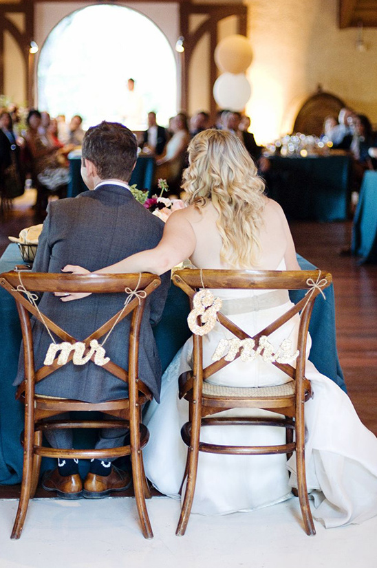 gold glitter mr and mrs chair signs