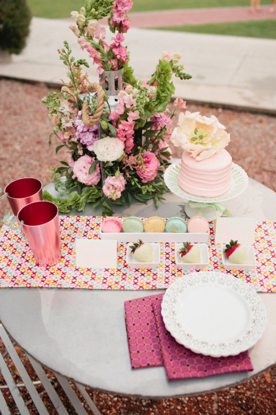 cute pink dessert table for two