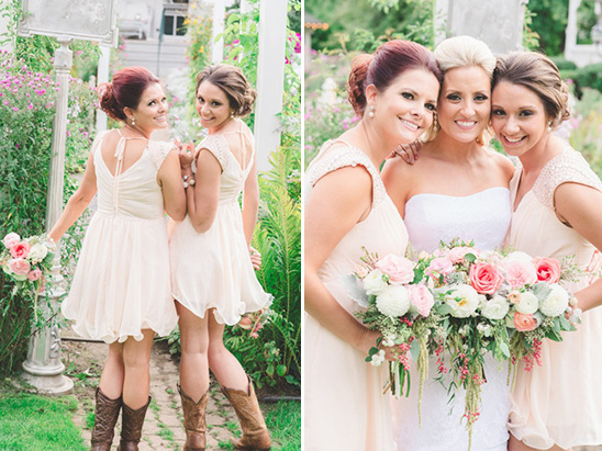 cream bridesmaid dresses and cowgirl boots