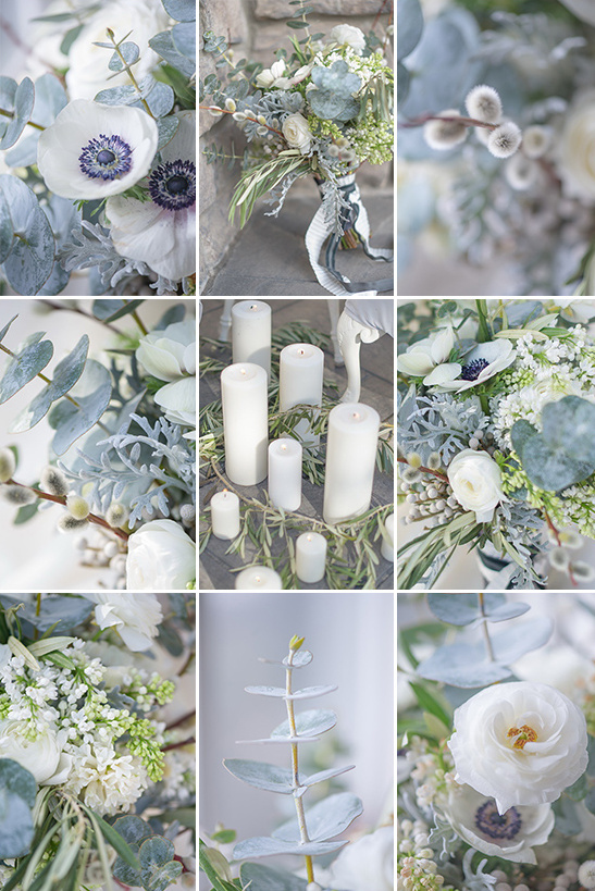 wintery wedding florals