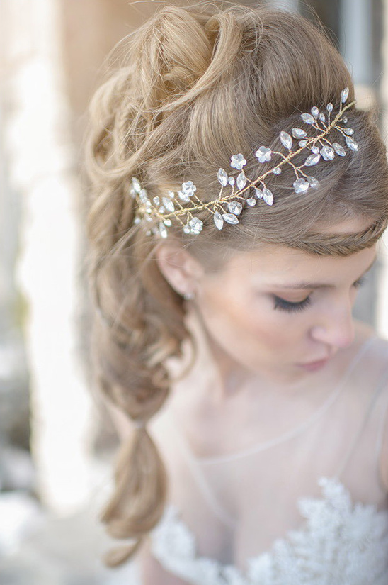 sparkling golden wedding hair piece