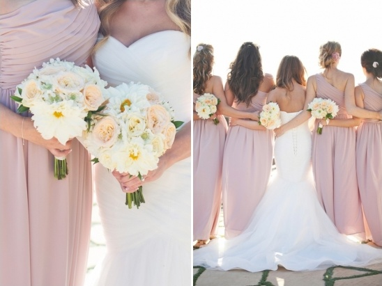 peach and white bouquets
