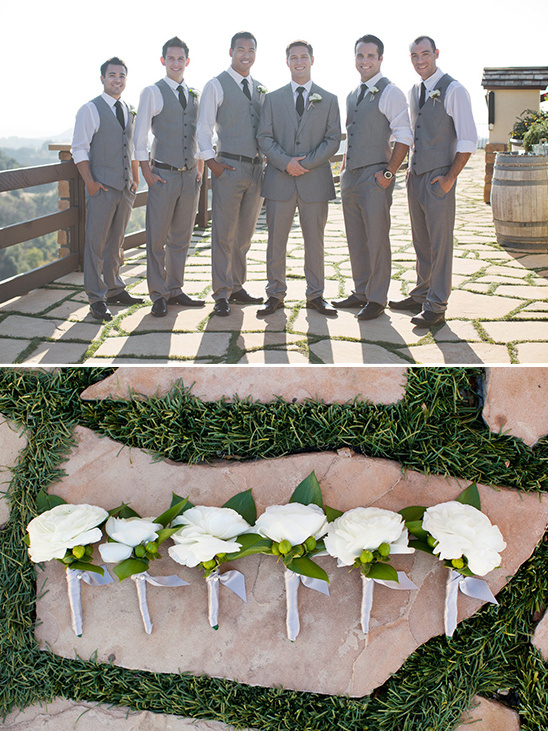 grey pants and vest groomsmen look