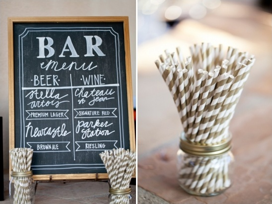 chalkboard bar sign and gold striped straws