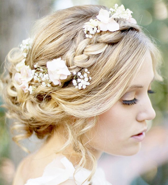 whimsical wedding braids with flowers