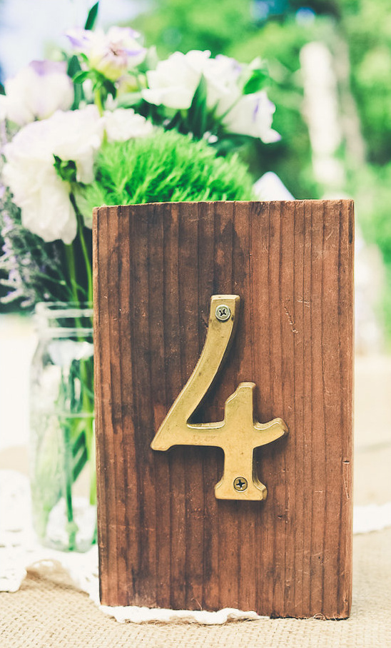 gold table numbers on wood blocks