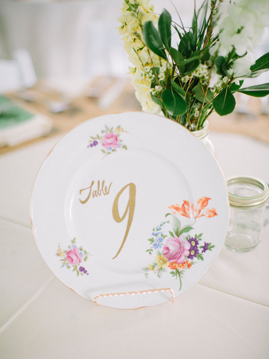 pretty patterned plates as table numbers