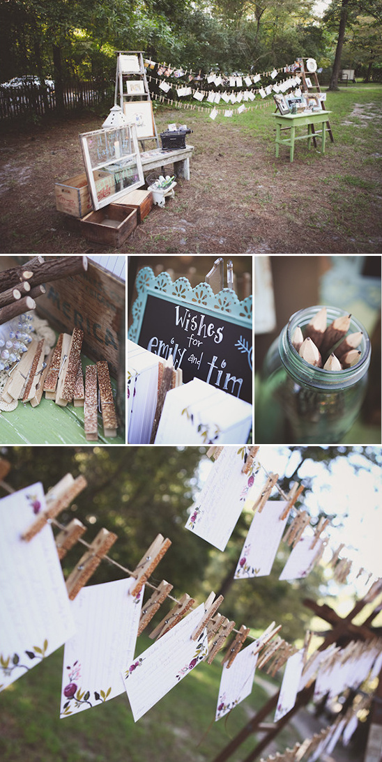 clothespin well wishes for the bride and groom