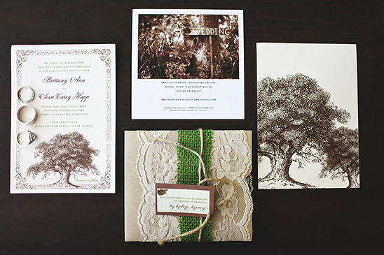 brown and cream tree wedding invites