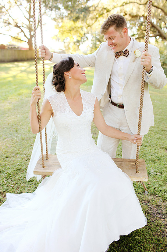 rope swing wedding photo