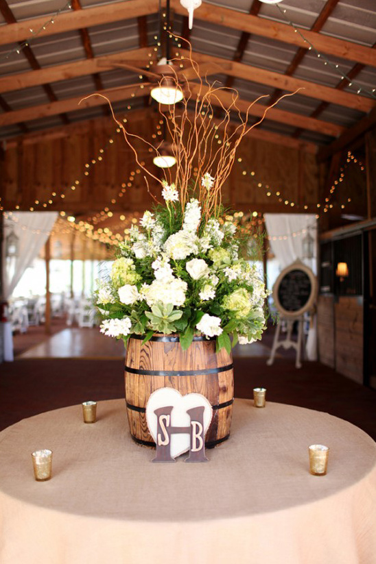 large barrel floral centerpiece