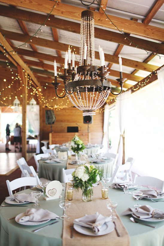 elegant reception with candle chandeliers