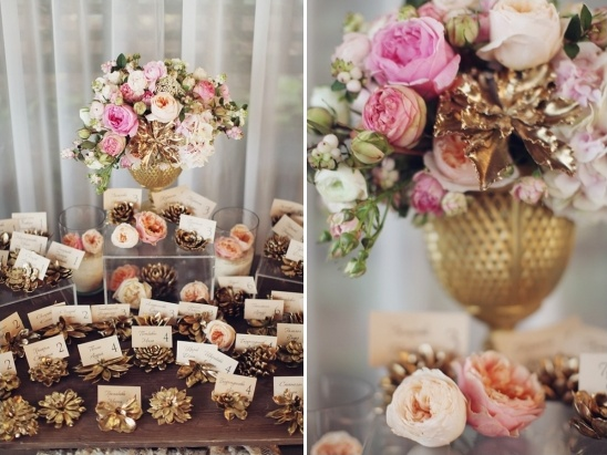 gold and pink escort card station