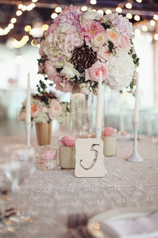 pink white and gold reception centerpieces