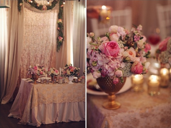 gold and pink sweetheart table with glittery backdrop
