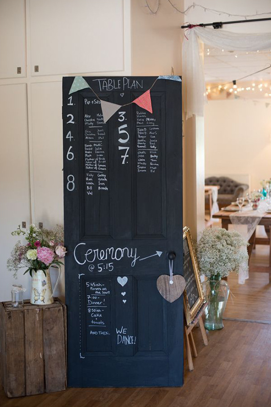 chalkboard paint on a door to inform guests of tables and events