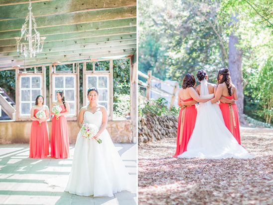 coral bridesmaid dresses tied with gold bows
