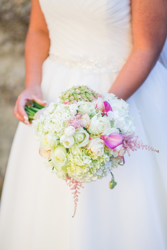 pink and white ball bouquet