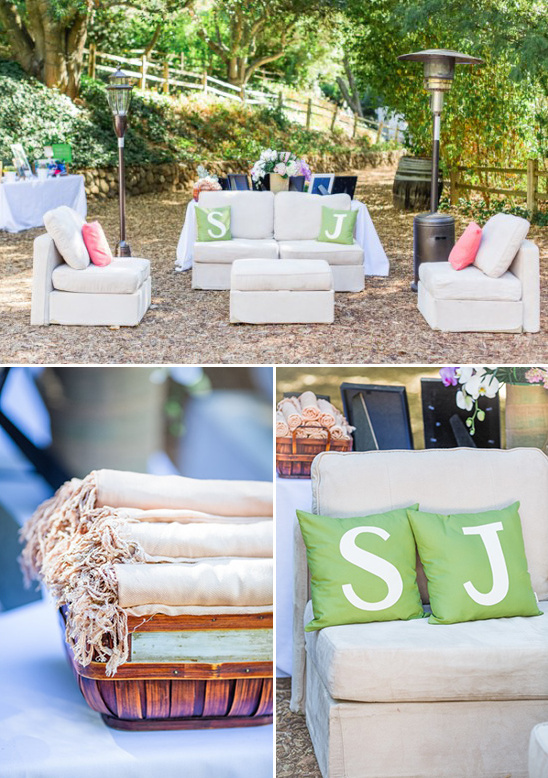 lounge area at your wedding with monogram pillows