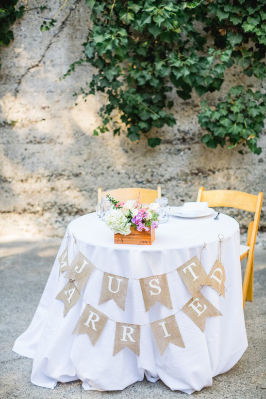 just married sweetheart table bunting