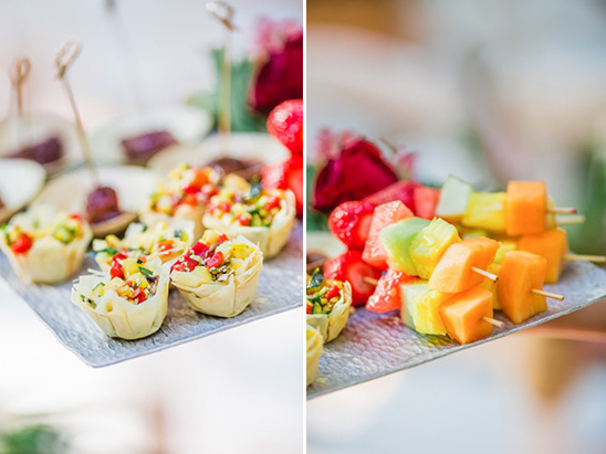 appetizers and fruit kebabs