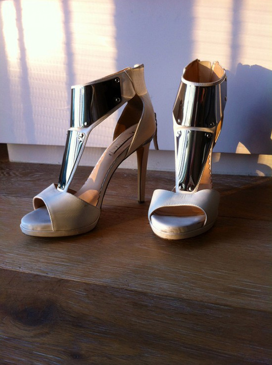 metal plated bridal shoes