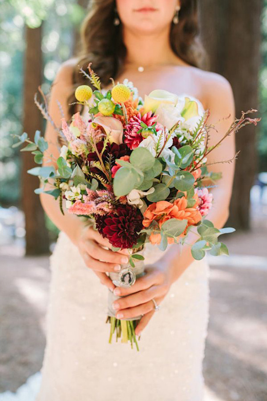 wedding bouquet in vibrant warm tones