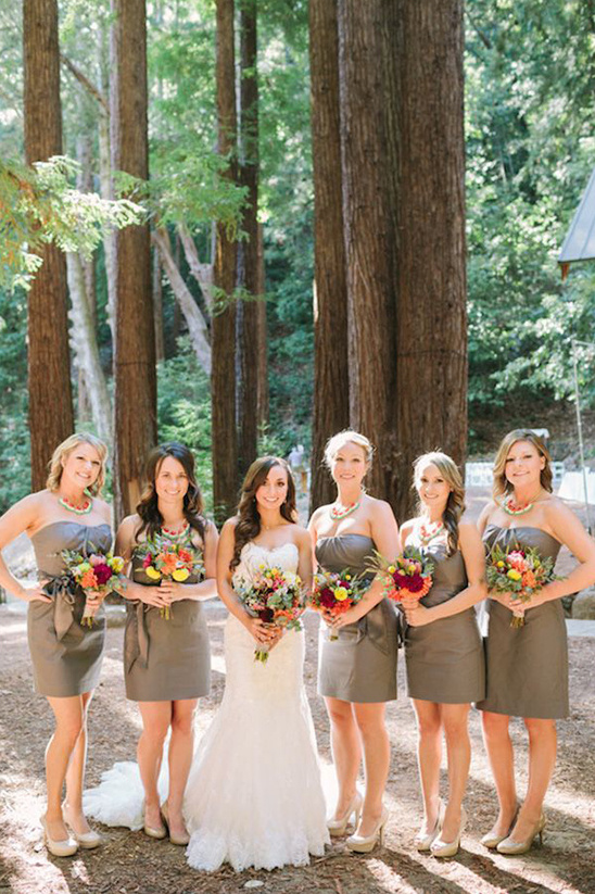 short grey bridesmaids dresses