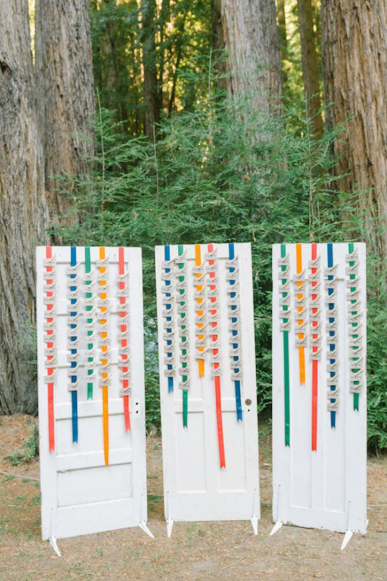 colorful ribbon escort card ideas