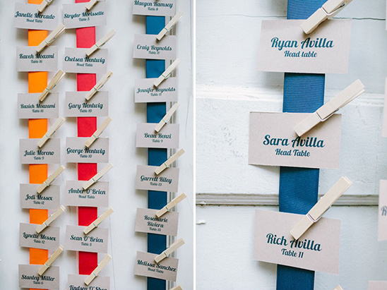 clothespin and ribbon hung escort cards