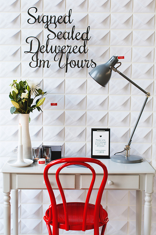 envelope wall and cute writing desk station