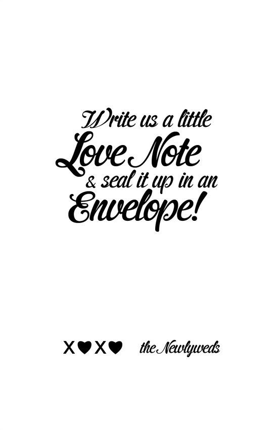 love note table sign