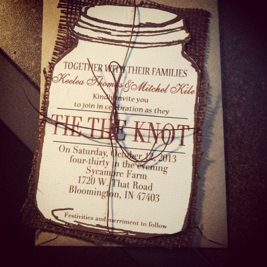 Mason Jar Tie the Knot Wedding Invitation with burlap