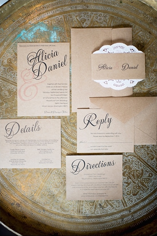 brown paper wedding invites by Seed To Sprout