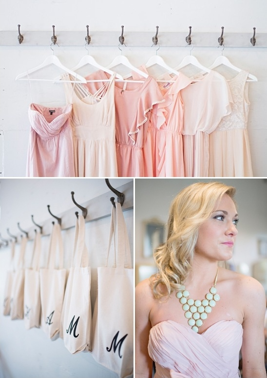 assorted bridesmaids dresses and fun bridal party totes