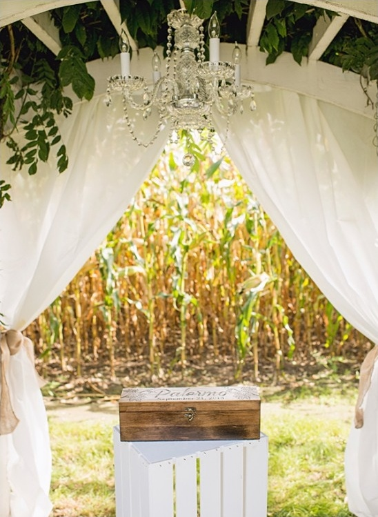 wedding arbor and glam chandelier