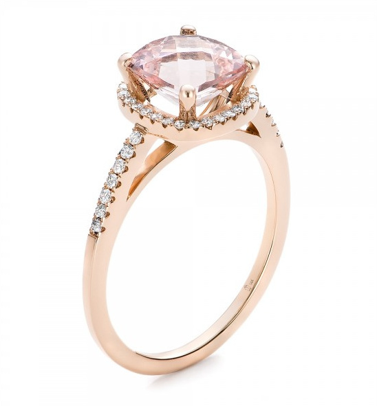 Morganite and Diamond Halo engagement ring
