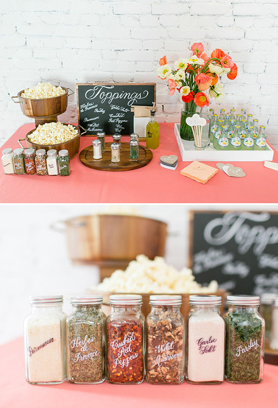 calligraphy labled popcorn toppings