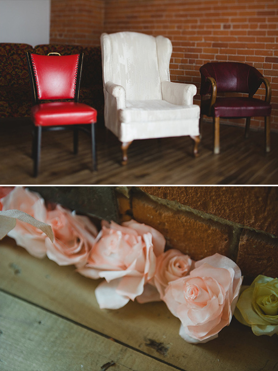 vintage guest chairs and rose decor