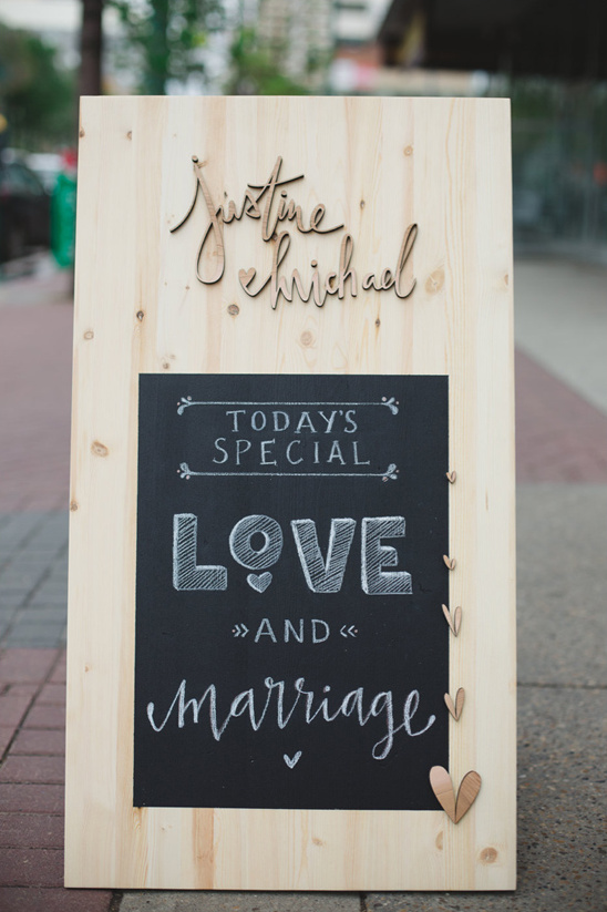 cute wooden chalk board love sign
