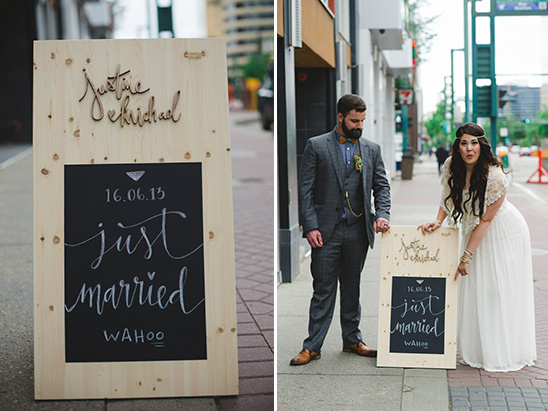 just married sandwich board sign