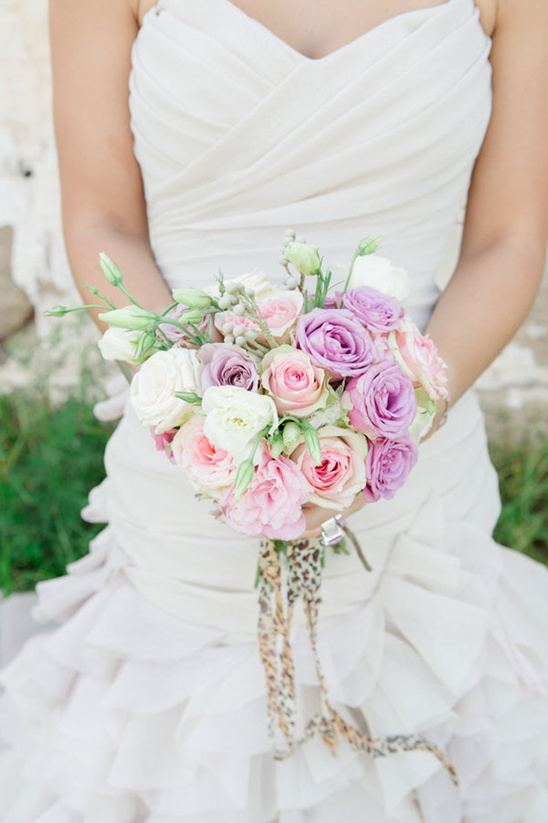 pastel pink and violet wedding bouquet