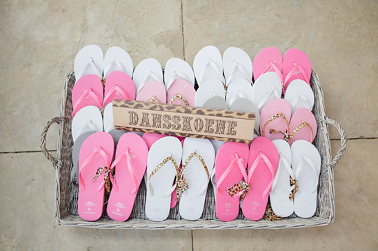 pink and white flip flops for dancing