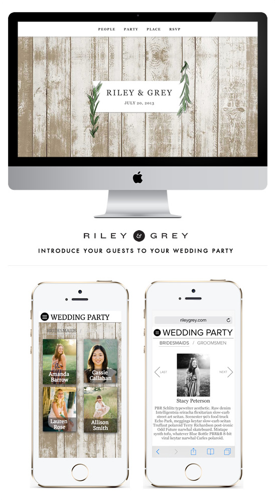 stylish Wedding Websites by Riley & Grey