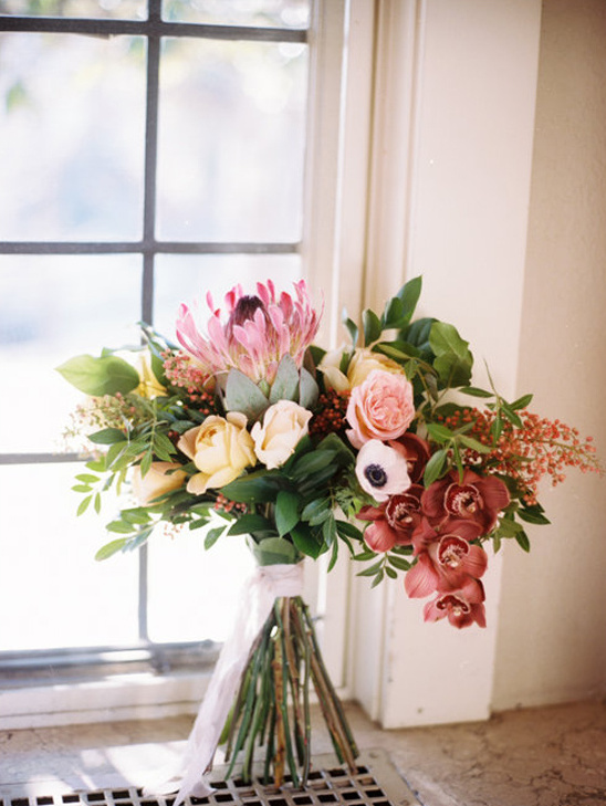 orchid rose and protea bouquet