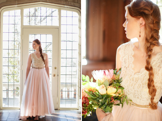 Tulle Bridal skirt and braided wedding hair