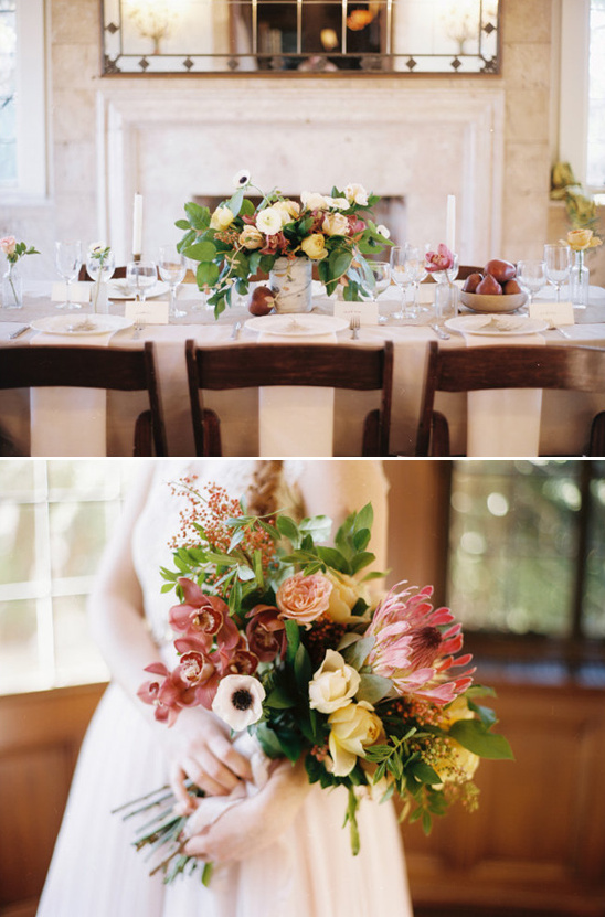 fall themed bouquet and tablescape