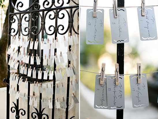 fork knife and spoon clothespins for escort cards